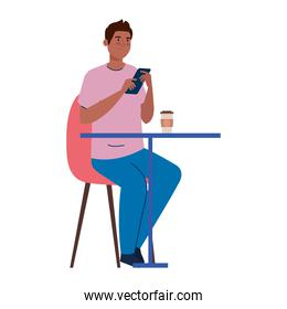 man sitting in chair, with coffee in table, on white background