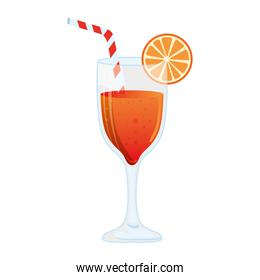 cocktail glass, refreshing coctail with orange slice