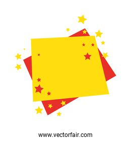 offer label square with stars decoration on white background