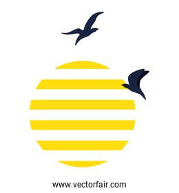 striped sun with birds flying on white background
