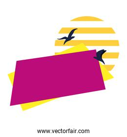 offer label rectangle with birds flying on white background