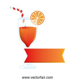 cocktail glass, refreshing coctail with orange slice and label