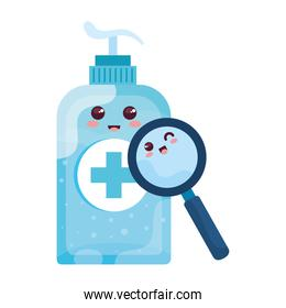 bottle disinfection and sanitizer bottle, with cute magnifying glass kawaii style