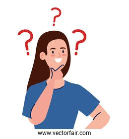 Woman avatar thinking with question marks vector design