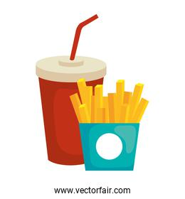 french fries and soda mug vector design
