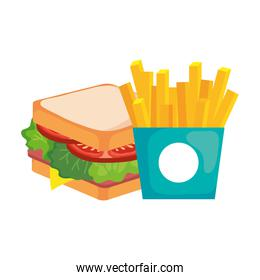 french fries and sandwich vector design