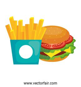 french fries and hamburger vector design