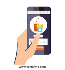 Hand holding smartphone with french fries vector design