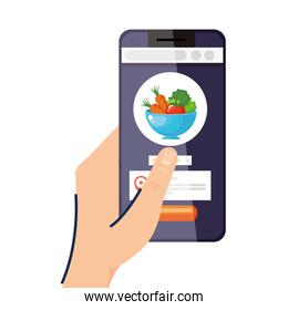 Hand holding smartphone with salad bowl vector design