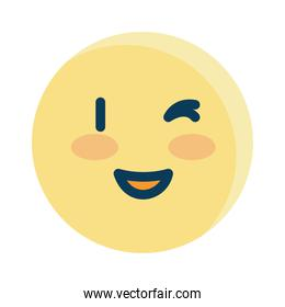 Isolated happy and wink emoji vector design