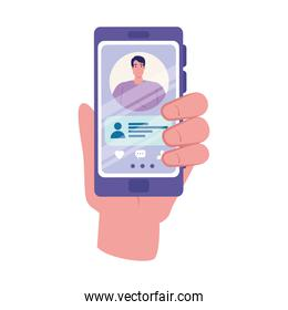 Hand holding smartphone with man and chatting bubble vector design