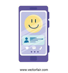 happy emoji and chat on smartphone vector design