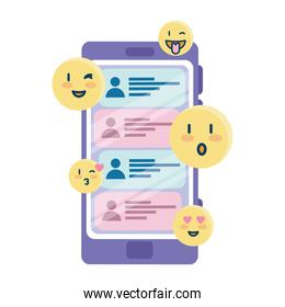 happy emojis and chats on smartphone vector design