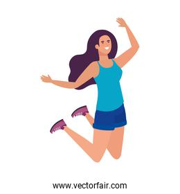 Isolated avatar woman jumping vector design