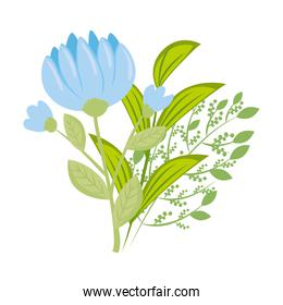 blue flowers with leaves vector design