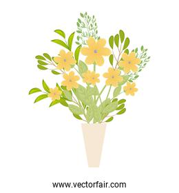 yellow flowers with leaves inside vase vector illustration