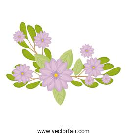 purple flowers with leaves vector design