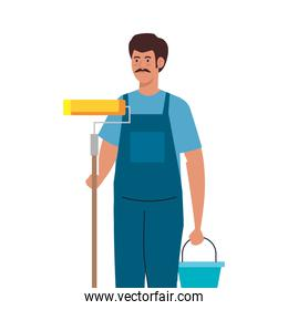 painter man worker with roll and bucket vector design