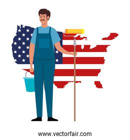 painter man with roll bucket and usa flag map vector design