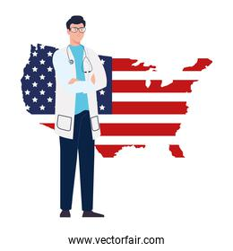 doctor man with stethoscope and usa flag map vector design