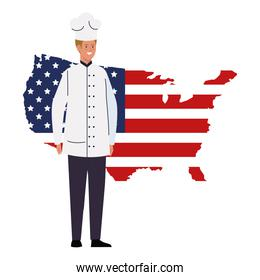 chef man with usa flag map vector design