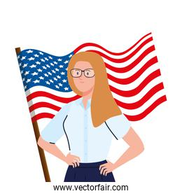 businesswoman with usa flag vector design