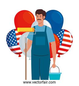 painter man with roll bucket and usa balloons vector design