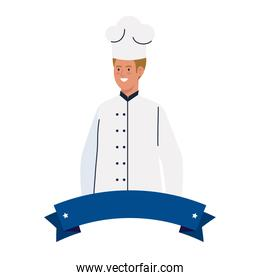 chef man worker with ribbon vector design