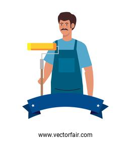 painter man worker with roll and ribbon vector design