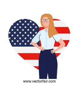 businesswoman with usa flag heart vector design