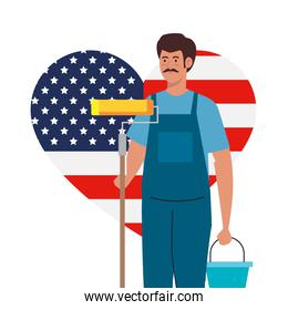 painter man with roll bucket and usa flag heart vector design