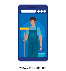 painter man worker with roll and bucket in smartphone vector design