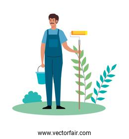 painter man worker with roll and bucket at park vector design