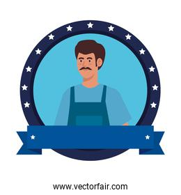 painter man worker in seal stamp and ribbon vector design