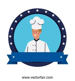 chef man worker in seal stamp and ribbon vector design