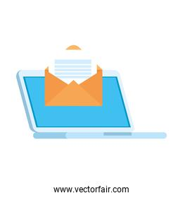 Envelope message in front of laptop vector design