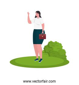 Businesswoman avatar with suitcase and shrub vector design