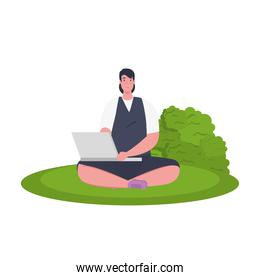 Businesswoman avatar with laptop and shrub vector design