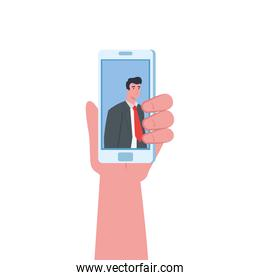 Hand holding smartphone with man in video chat vector design