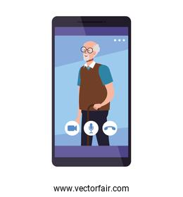 Grandfather in smartphone in video chat vector design