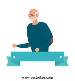 Grandfather avatar with ribbon vector design