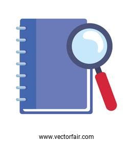 school notebook and lupe vector design