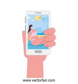 Hand holding smartphone and girl with mask at the beach in video chat vector design