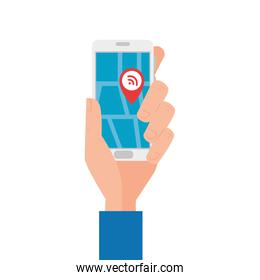 Hand holding smartphone with wifi gps mark vector design