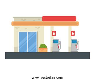 gasoline pump station with store vector design