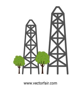 Electric towers and trees vector design