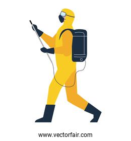 person in protective suit or clothing yellow color, spray to cleaning and disinfect virus, covid 19 disease on white background