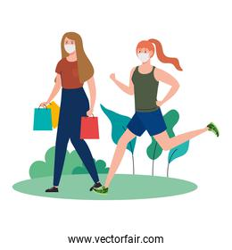 women wearing medical mask, carrying shopping bags and running on outdoor