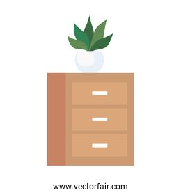 wooden drawer with house plant icon on white background