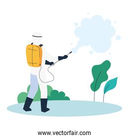 person in protective suit or clothing, spray to cleaning and disinfect virus on outdoor, covid 19 disease on white background